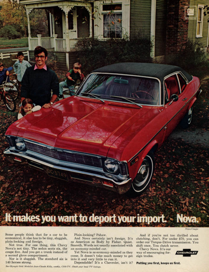 Image for It makes you want to deport your import Chevrolet Nova ad 1969 LK