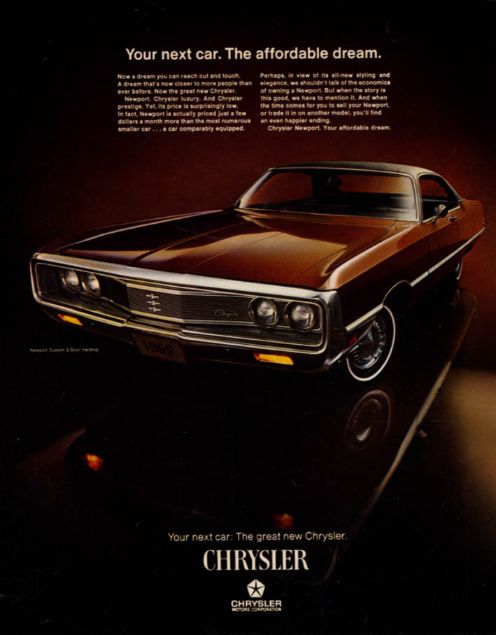 Image for Your next car The affordable dream Chrysler Newport Custom 2dr HT ad 1969 LK