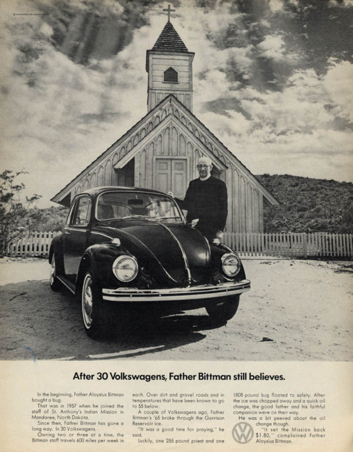 After 30 Volkswagens, Father Bittman still believes ad 1969 LK