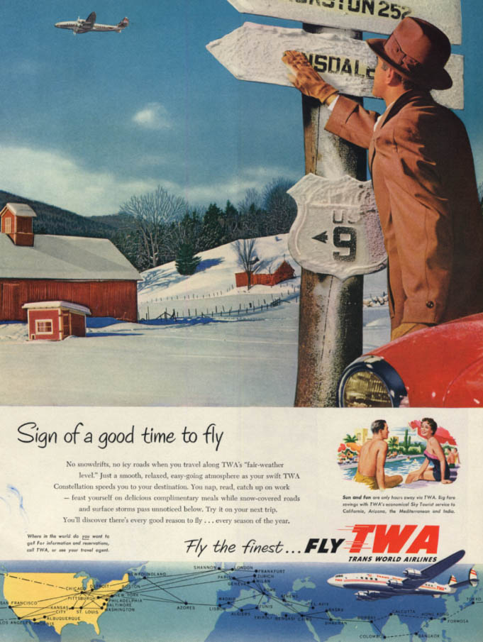 Image for Sign of a good time to fly TWA Trans World Airlines Constellation ad 1954 H