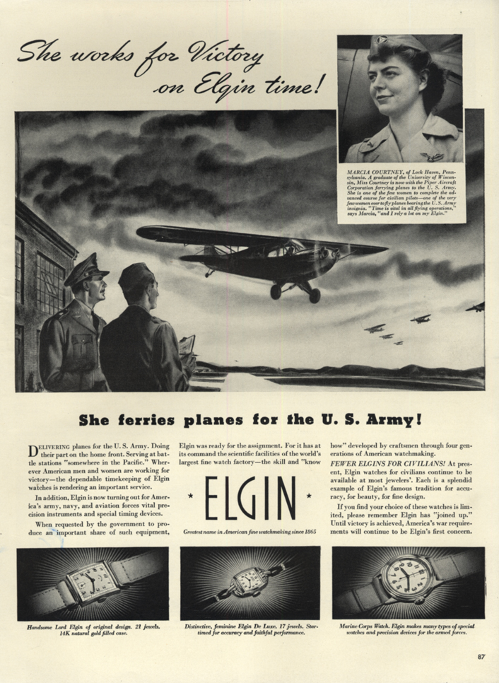 Marcia Courtney ferries planes for the US Army - Elgin Watch ad 1942 L