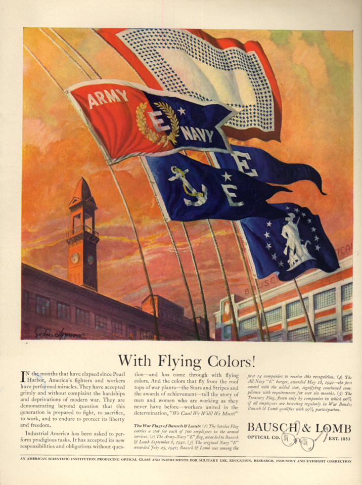 Image for With Flying Colors! Army-Navy E Award - Bausch & Lomb ad 1942 L