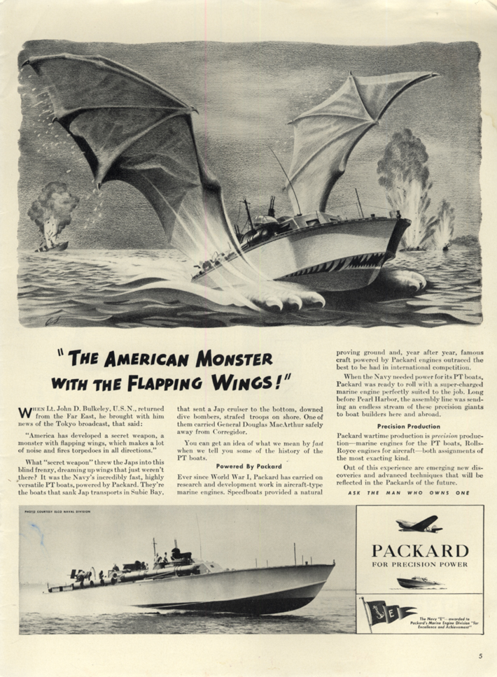 American Monster with Flapping Wings Packard-powered PT Boat ad 1942 L