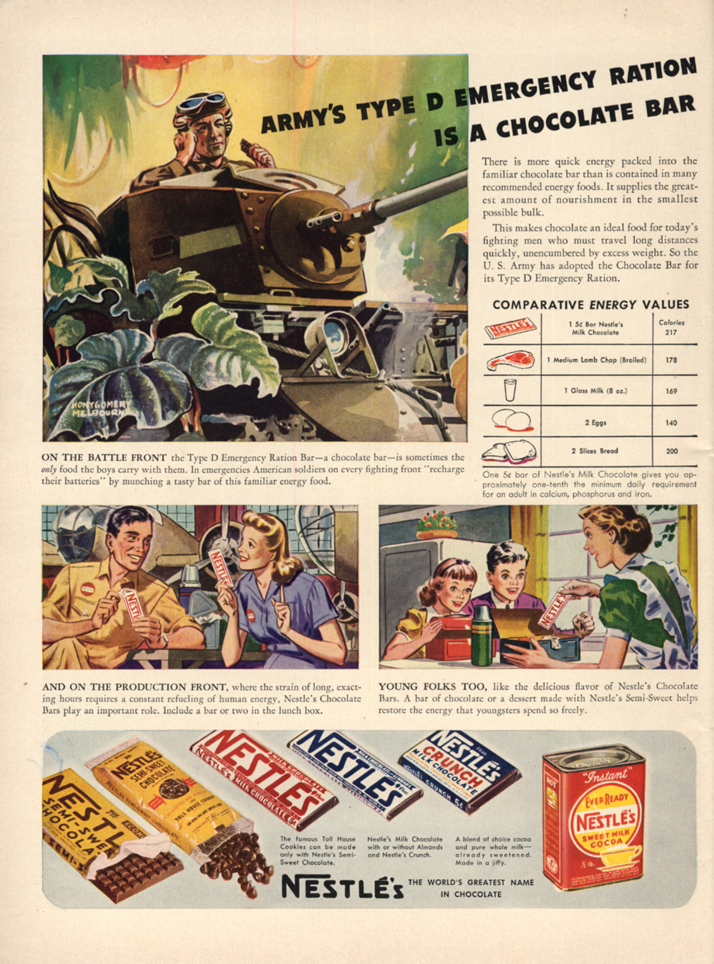 Army's Type D Emergency Ration is a Nestle Chocolate Bar ad 1942 L
