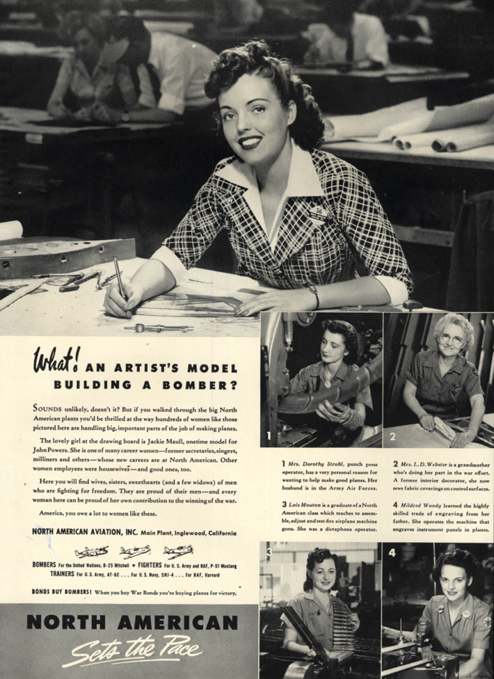 Image for Powers model Jackie Maull woman war worker North American Aviation ad 1942 L