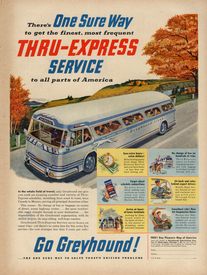 Image for One Sure Way to get Thru-Express Service - Greyhound Bus ad 1953 L