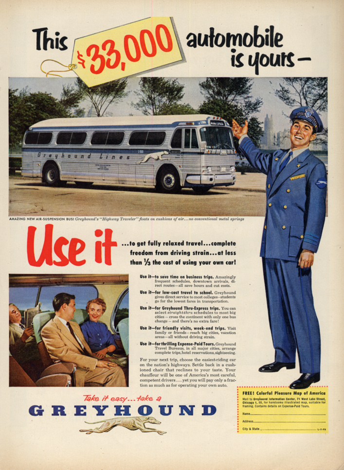 This $33,000 automobile is yours - Greyhound Highway Traveler Bus ad 1953 L