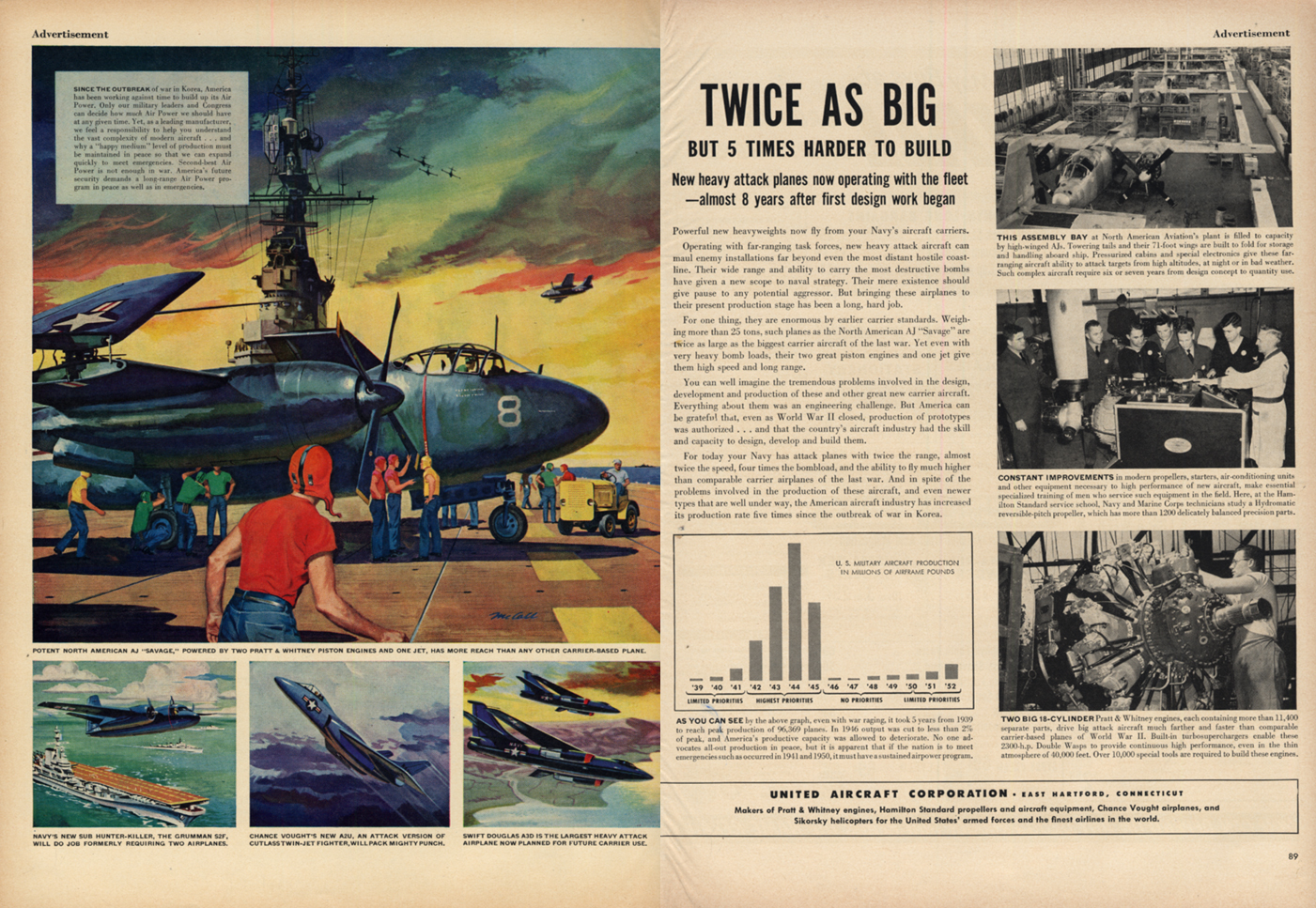 Image for Twice as big 5x harder to build North American AJ Savage United Aircraft ad 1953