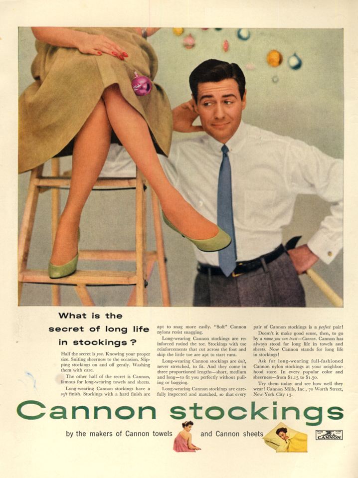 Image for What is the secret of long life in Cannon stockings? Ad 1953 upskirt man L