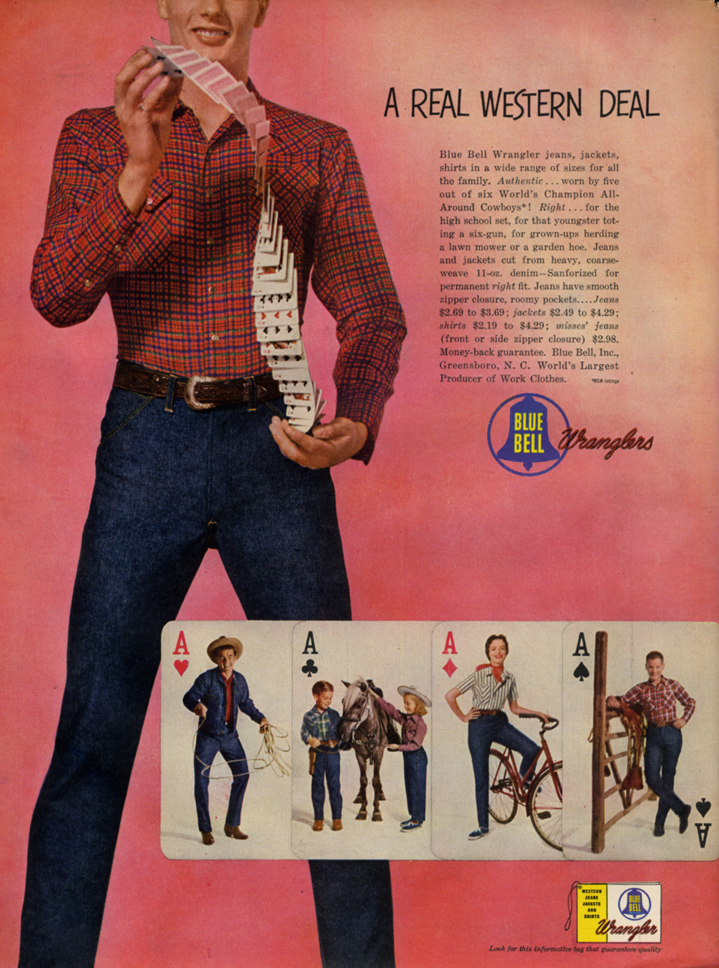 Image for A Real Western Deal - Blue Bell Wrangler jeans ad 1953 L
