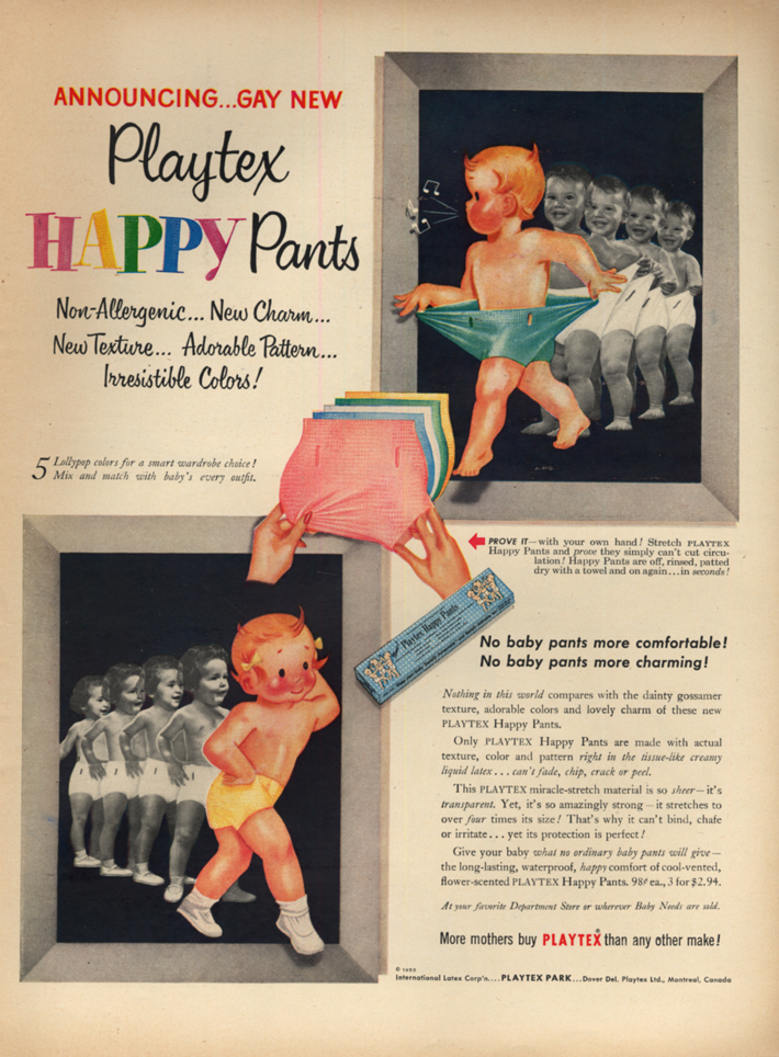 Announcing gay new Playtex Happy Pants for babies ad 1953 L