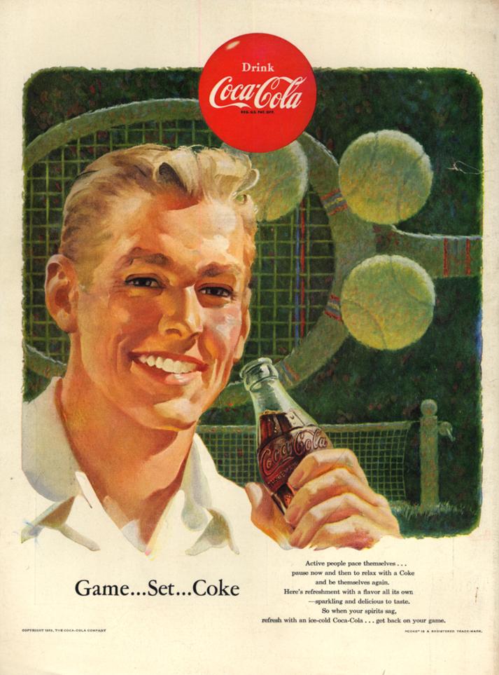 Game - Set - Coke - Coca-Cola ad 1953 tennis motif L