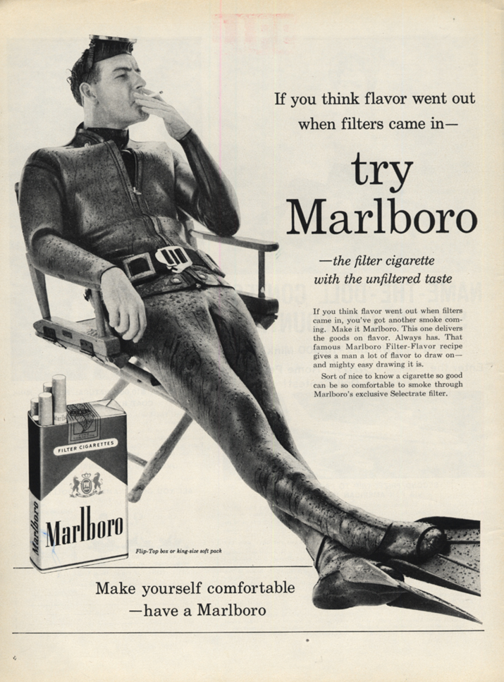Image for Think flavor went out when filters came? Try Marlboro Cigarettes ad 1960 SCUBA