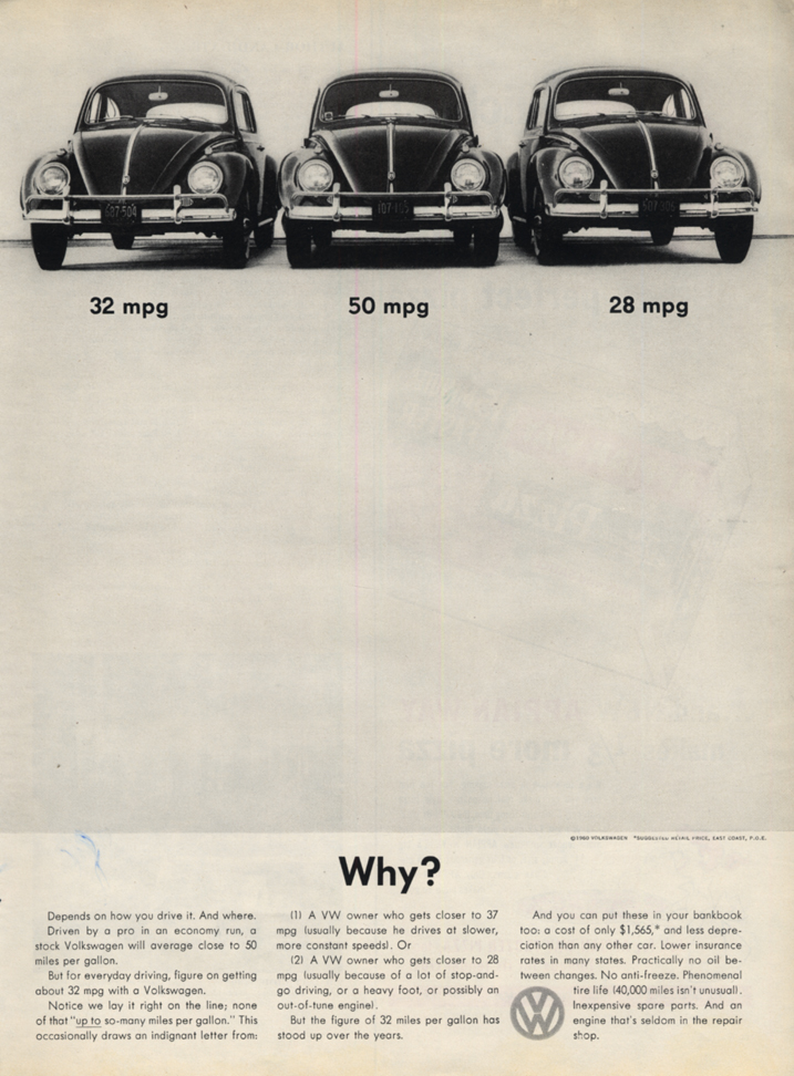 Image for 32 mpg - 50 mpg - 28 mpg - Why? Volkswagen ad 1960 L