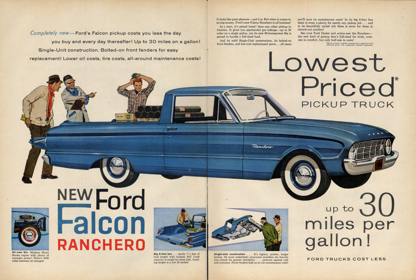 Image for Lowest priced pickup truck - Ford Falcon Ranchero ad 4/ 1960 L