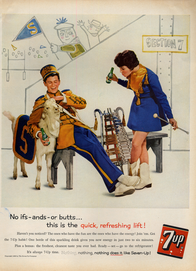 Image for No ifs-ands-or-butts Seven-Up ad 1960 marching lyre player & mascot goat