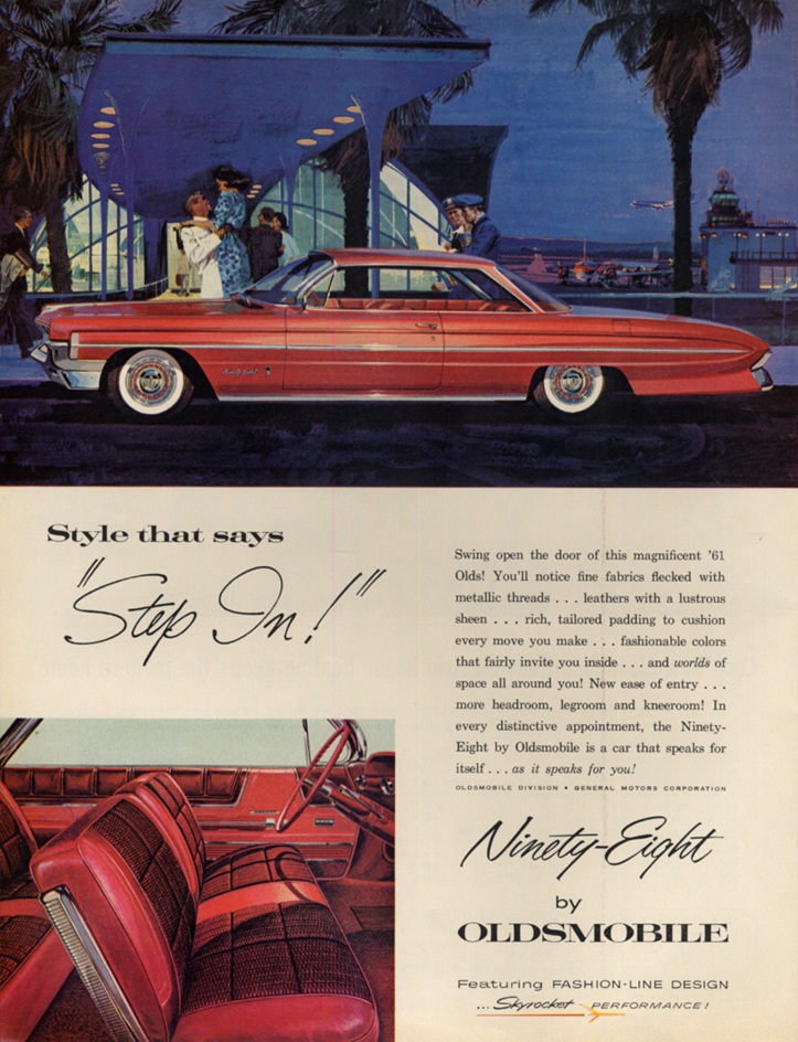 Image for Style that says Step in! Oldsmobile Ninety-Eight 2-door hardtop ad 1961 L