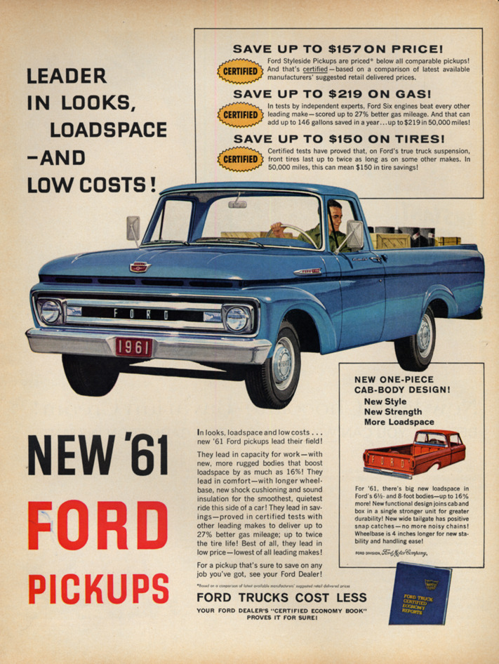 Image for Leader in looks, loadspace & low costs! Ford F-100 Custom Cab ad 1961 L