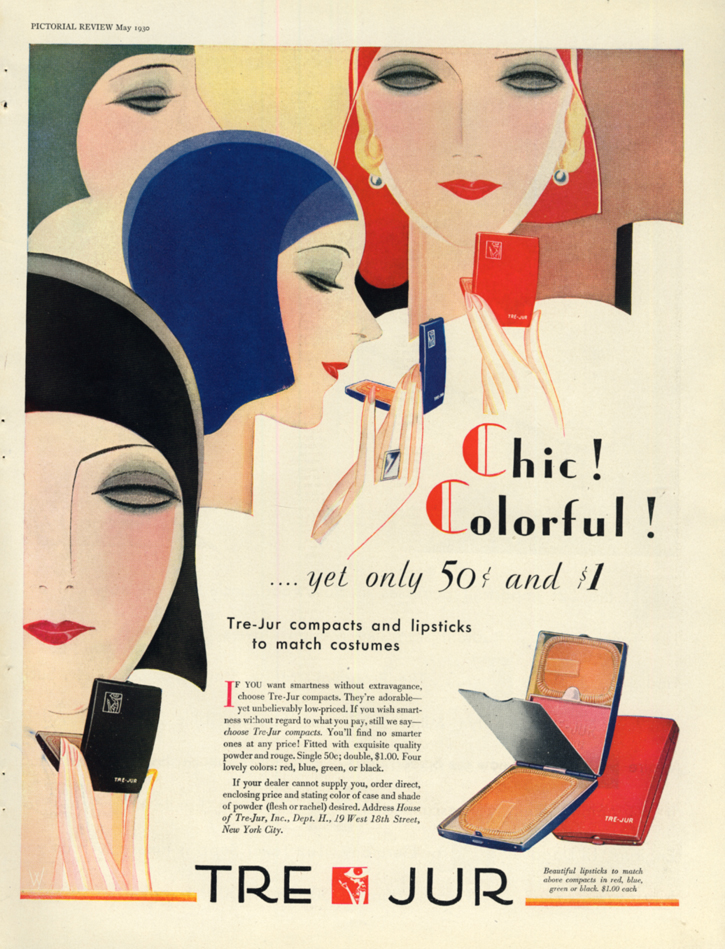 Image for Chic! Colorful! Yet only 50c & $1 - Tre-Jur Compacts & Lipsticks ad 1930 PR