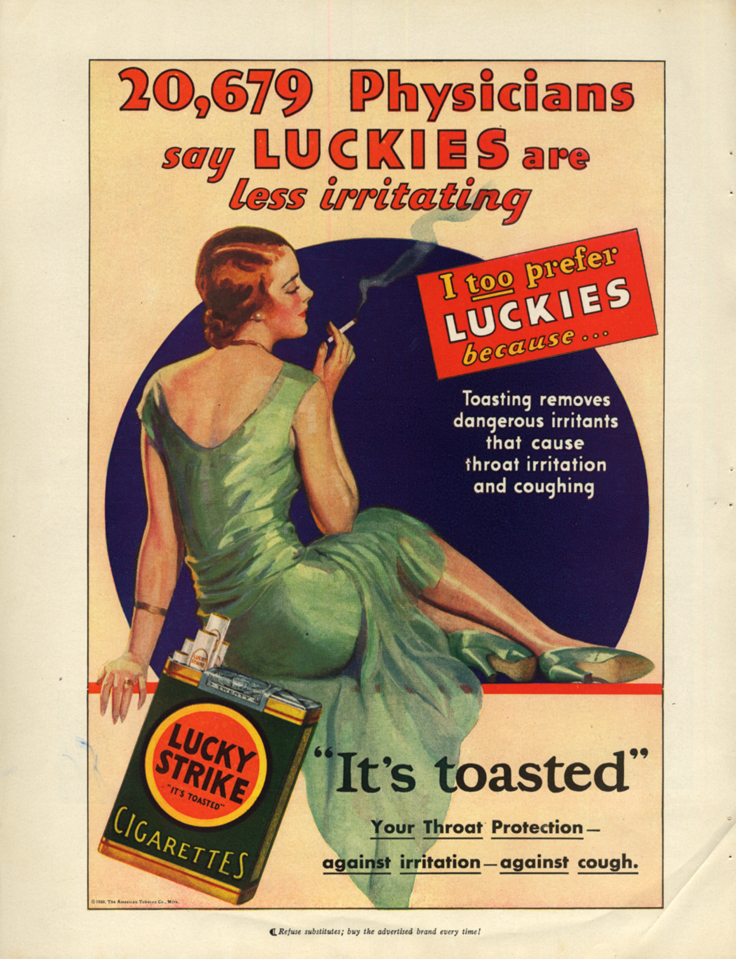 20,679 Physicians say Lucky Strike Cigarettes are less irritating ad 1930 PR
