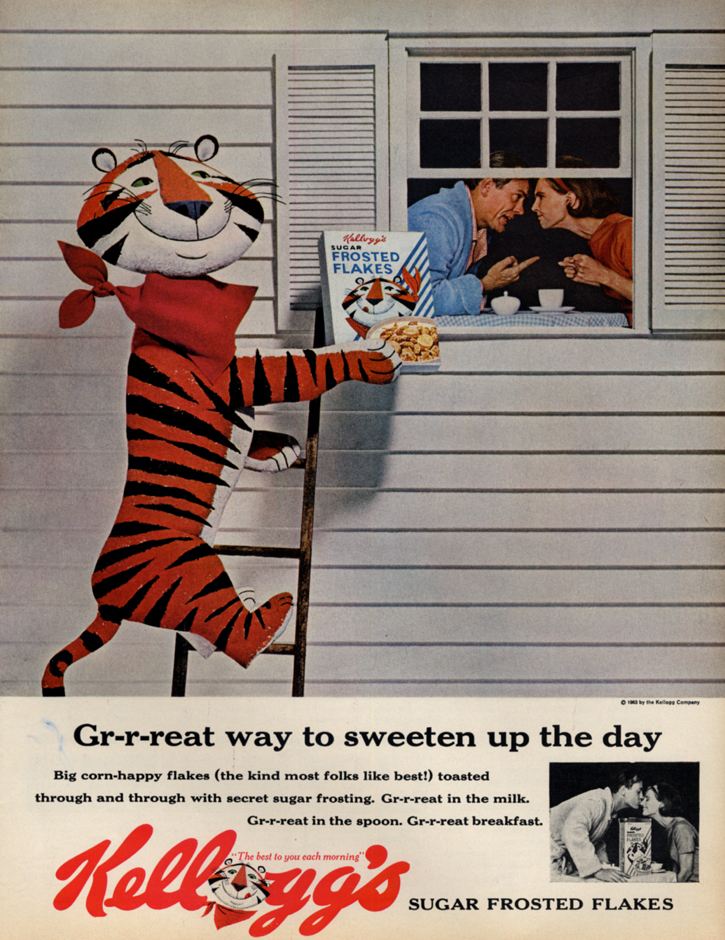 Image for Gr-r-reat way to sweeten the day Tony the Tiger Kellogg's Frosted Flakes ad 1963