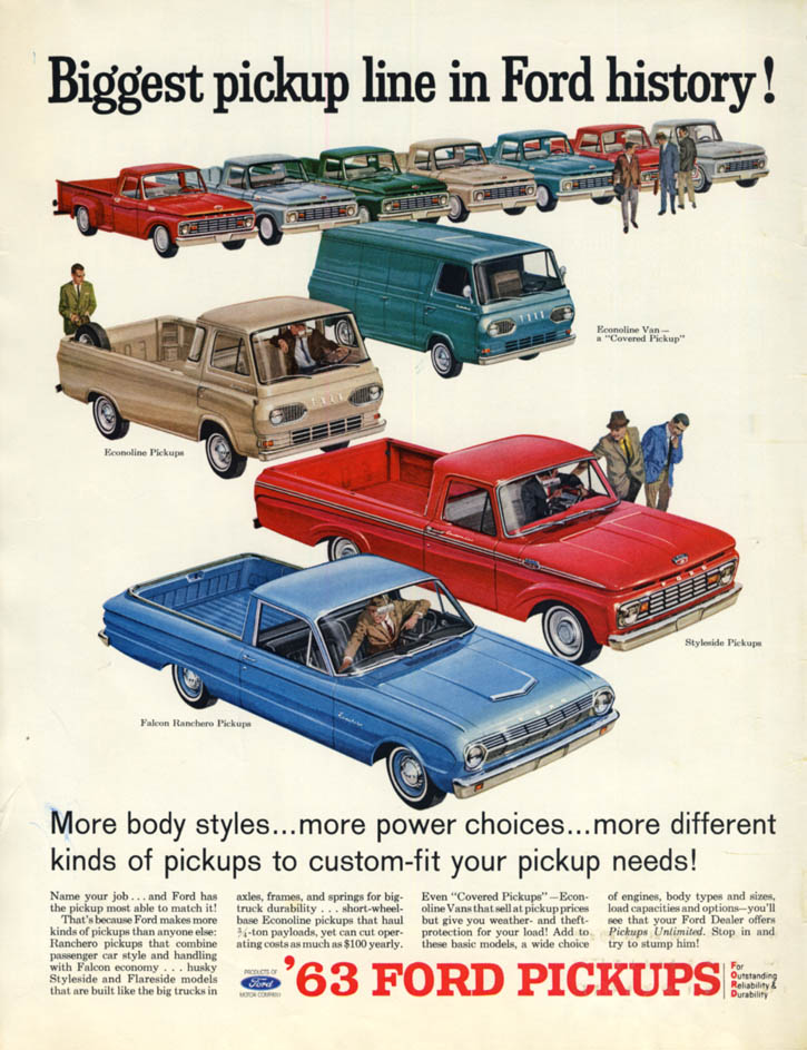 Biggest pickup line in Ford history! Styleside Falcon Ranchero Econoline ad 1963