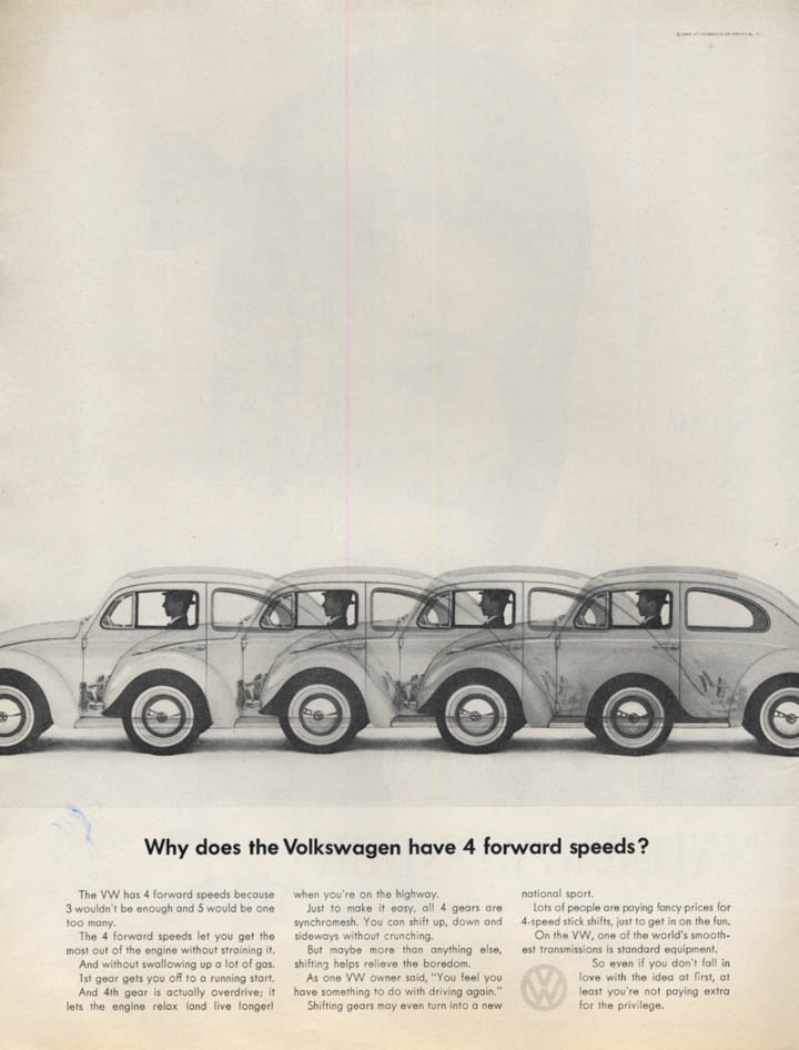 Image for Why does the Volkswagen have 4 forward speeds? Ad 1963 L