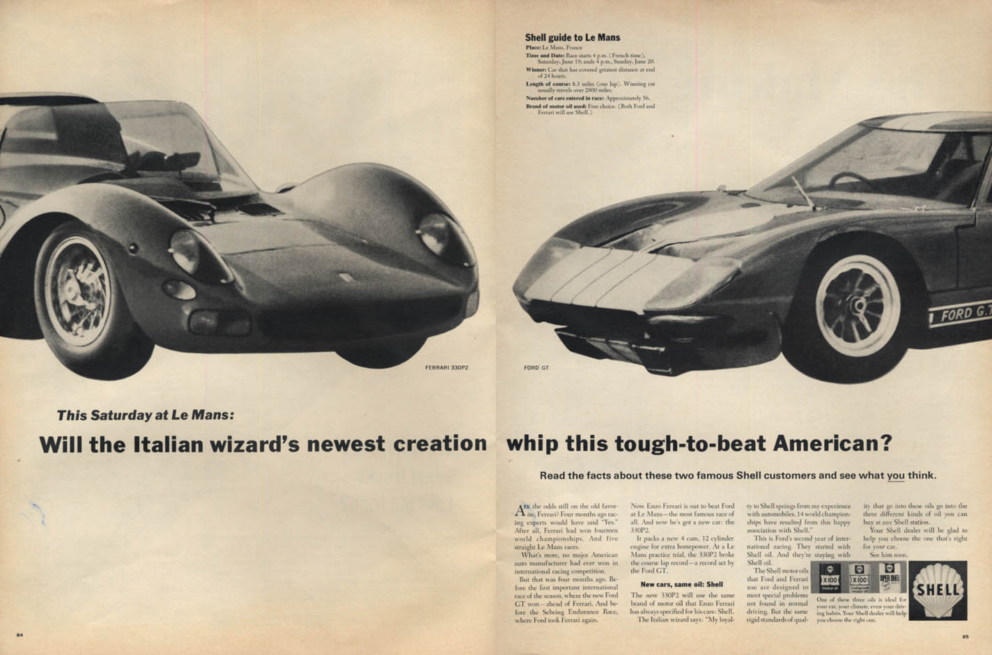 Image for Will the Ferrari 330P2 beat the Ford GT at Le Mans? Shell ad 1965 L