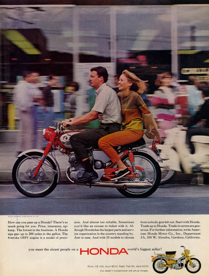 Image for How can you pass up a Honda CB 160 motorcycle? Ad 1965 L