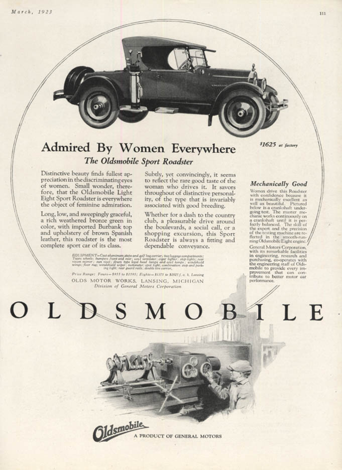 Admired by Women Everywhere - Oldsmobile Sport Roadster ad 1923 H&G
