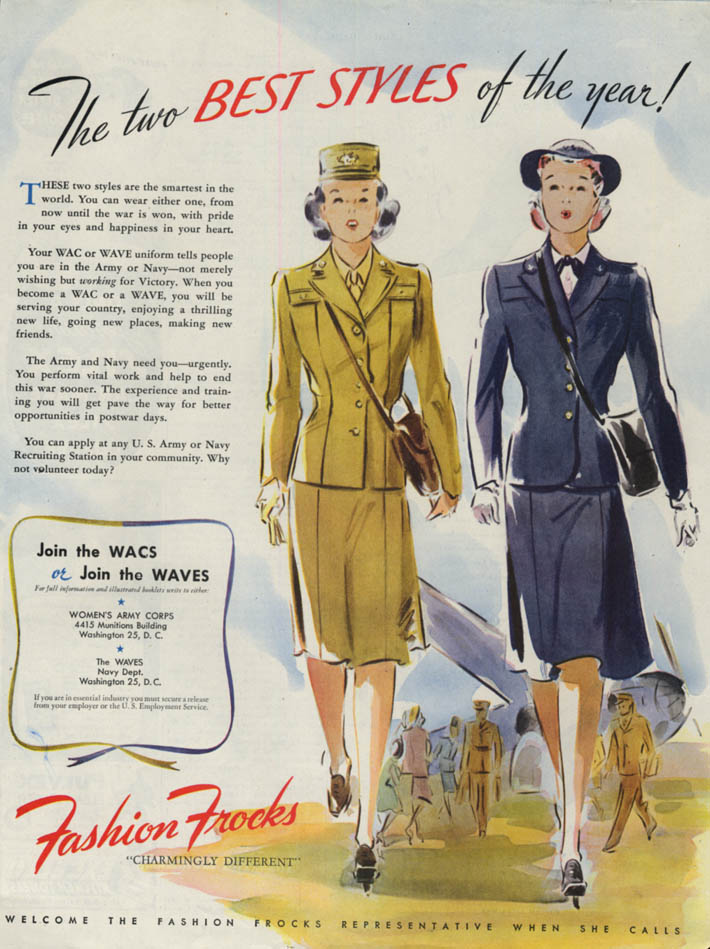 Image for The two best styles of the year! Fashion Frocks for WACS & WAVES ad 1944 LHJ