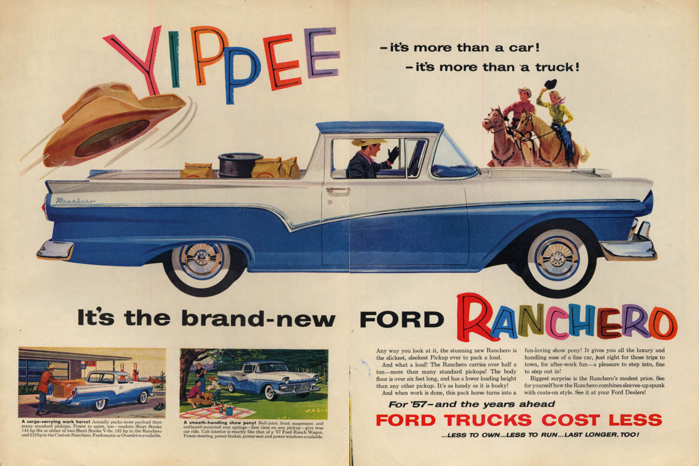 Image for YIPPEE! More than a car more than a truck! Ford Ranchero ad 1957 L