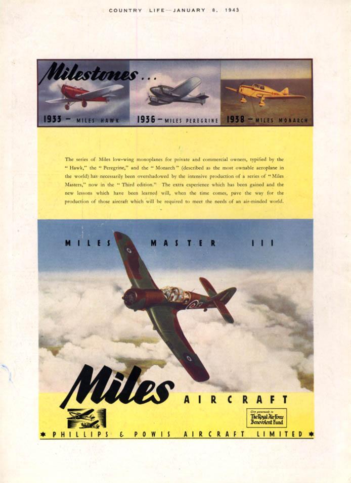 Image for Miles Aircraft Milestones: 1933 Hawk 1936 Peregrine 1938 Monarch 1943 Master ad