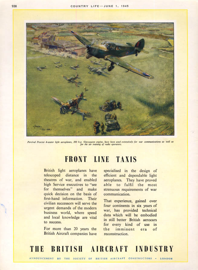 Image for Front Line Taxis - Miles Percival Proctor airplane ad 1945