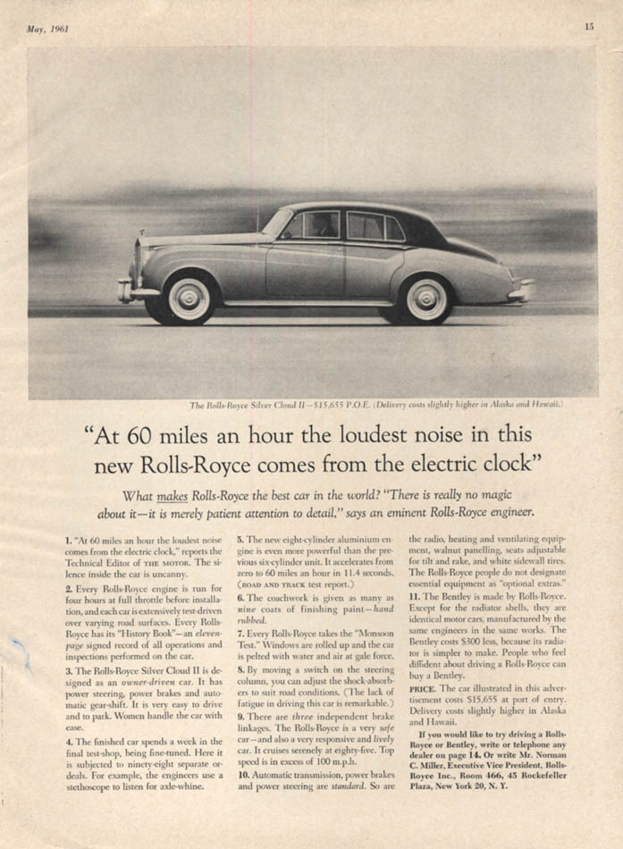 At 60 miles an hour the loudest noise comes from the clock Roll-Royce ad 1961 VG