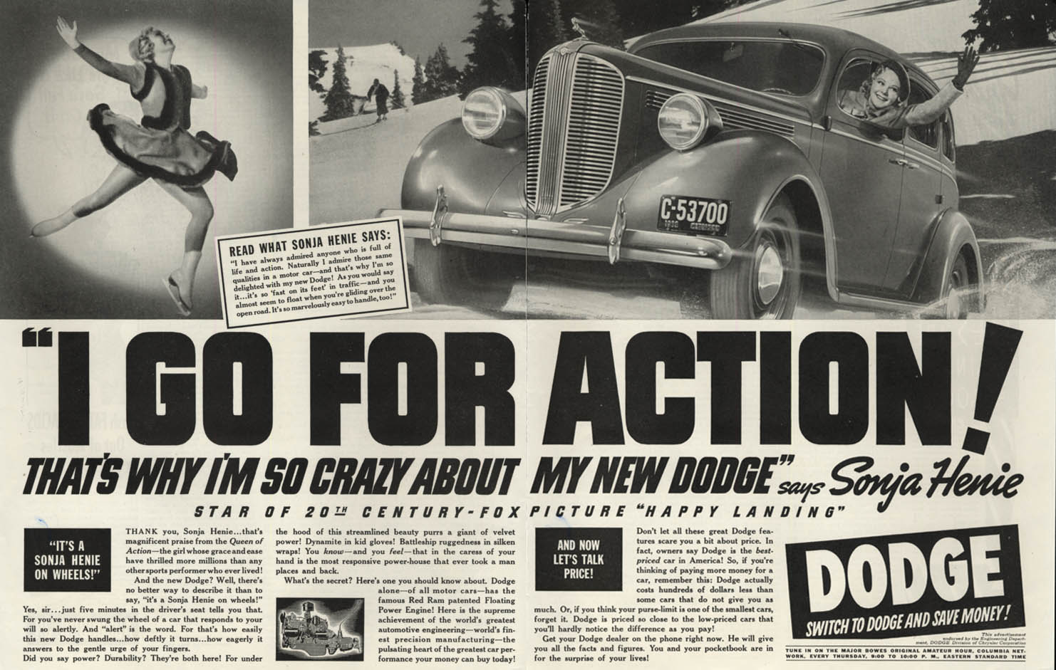Image for I go for Action! Sonja Henie for Dodge ad 1938 SEP