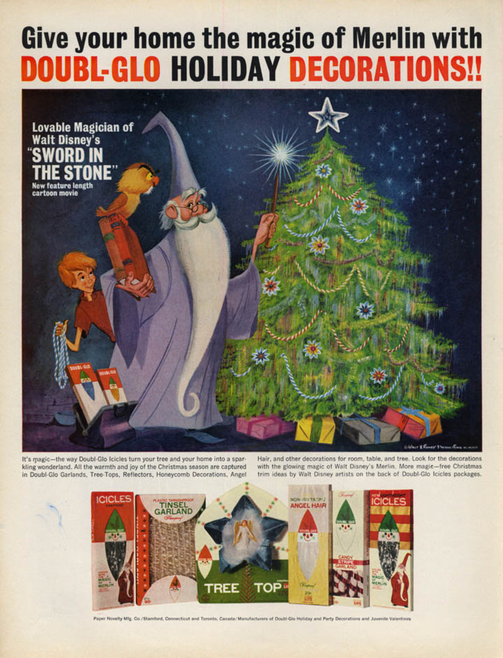 Image for Disney's Merlin & Sword in the Stone for Doubl-Glo Xmas Tree Decorations ad 1963