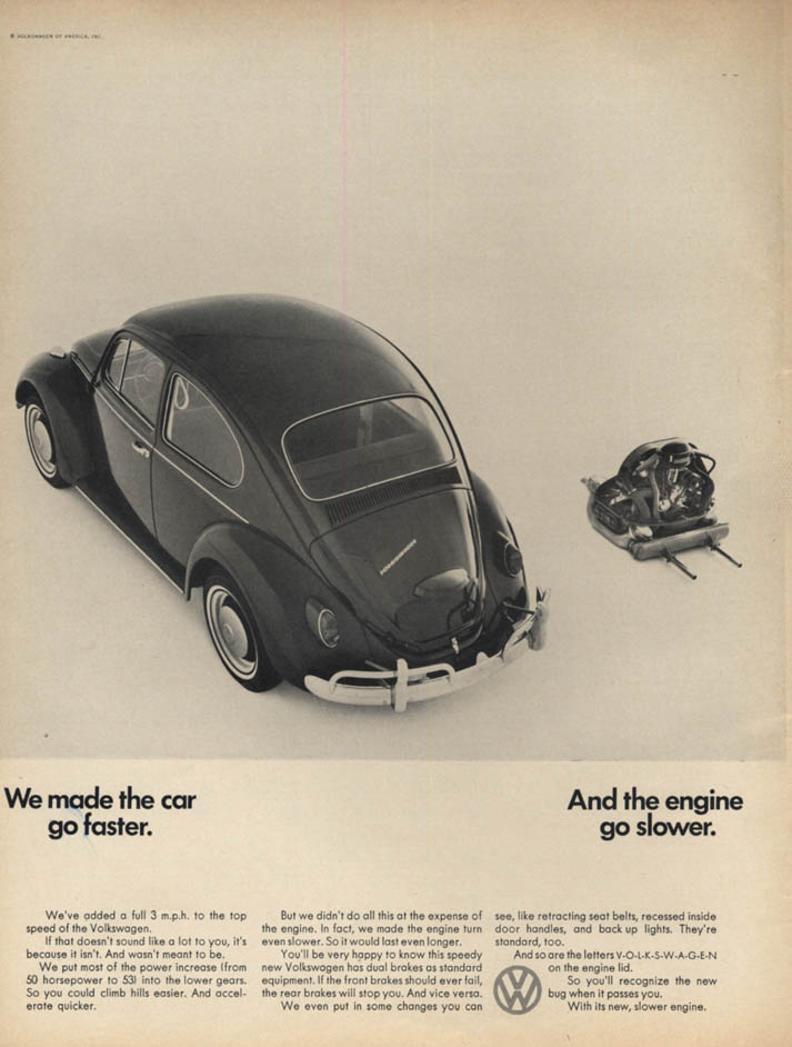 Image for We made the car go faster & the engine go slower - Volkswagen ad 1967 L