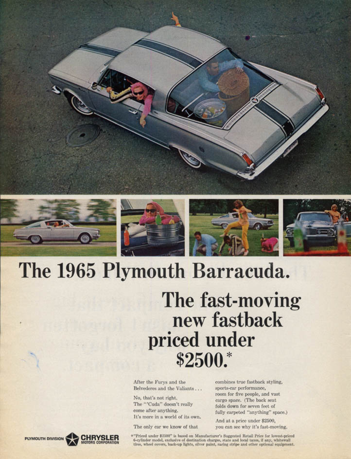 Image for The fast-moving new fastback priced under $2500 - Plymouth Barracuda ad 1965 L