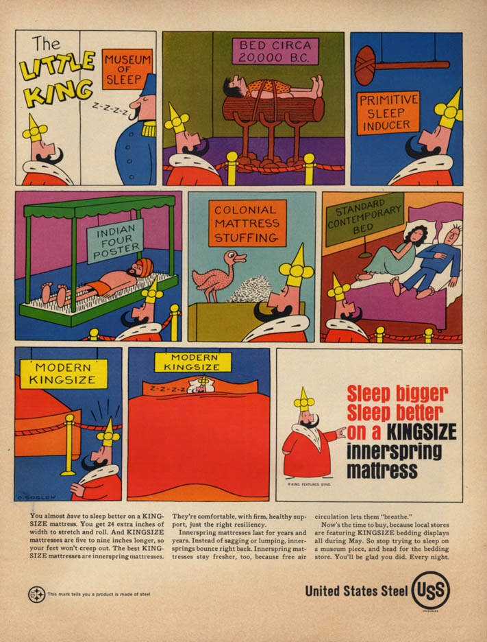 Image for Otto Soglow's The Little King for United States Steel Bedsprings ad 1966 L
