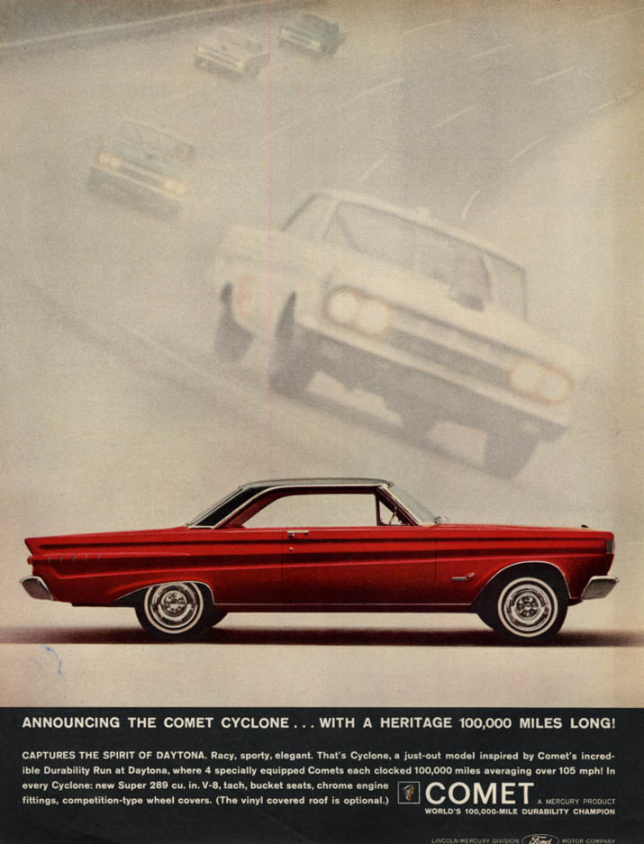 Announcing the Mercury Comet Cyclone ad 1964 L