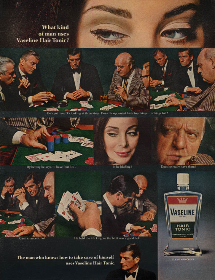 Image for What kind of man uses Vaseline Hair Tonic? Ad 1966 stud poker game L