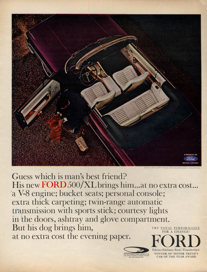 Image for Guess which is man's best friend? Ford Galaxie 500/XL Convertible ad 1964 L