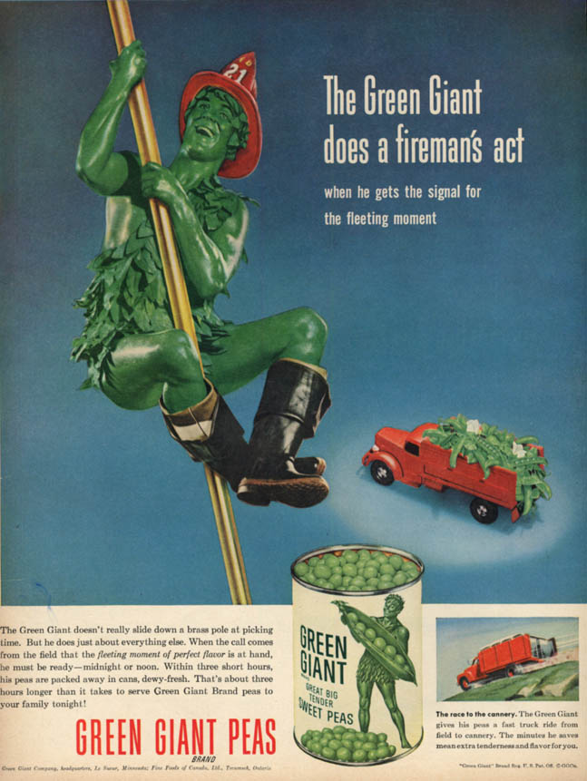 Image for The Green Giant does a fireman's act Green Gian Peas ad 1953 BHG