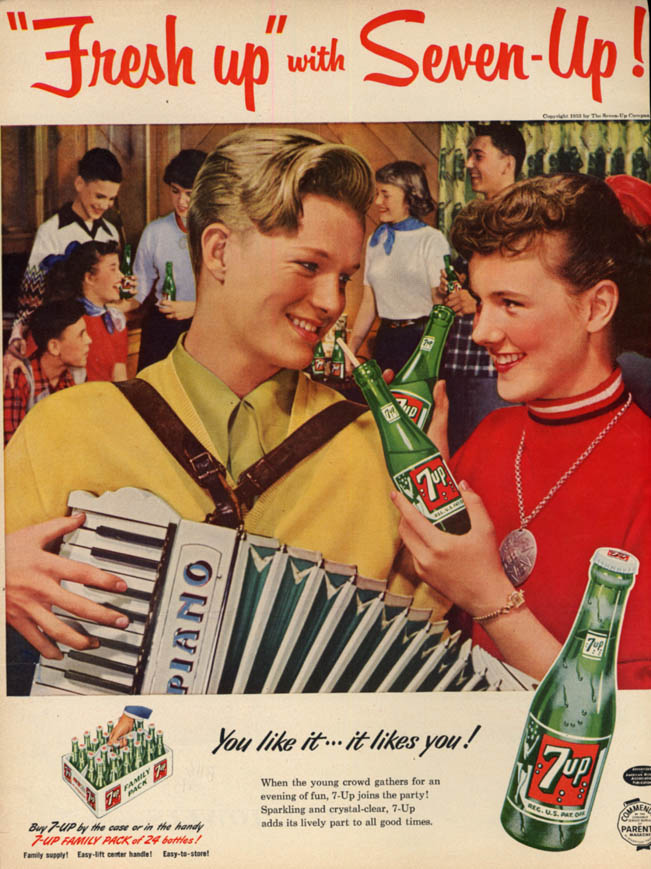 Image for Fresh up with Seven-Up! Ad 1953 boy, girl accordion BHG