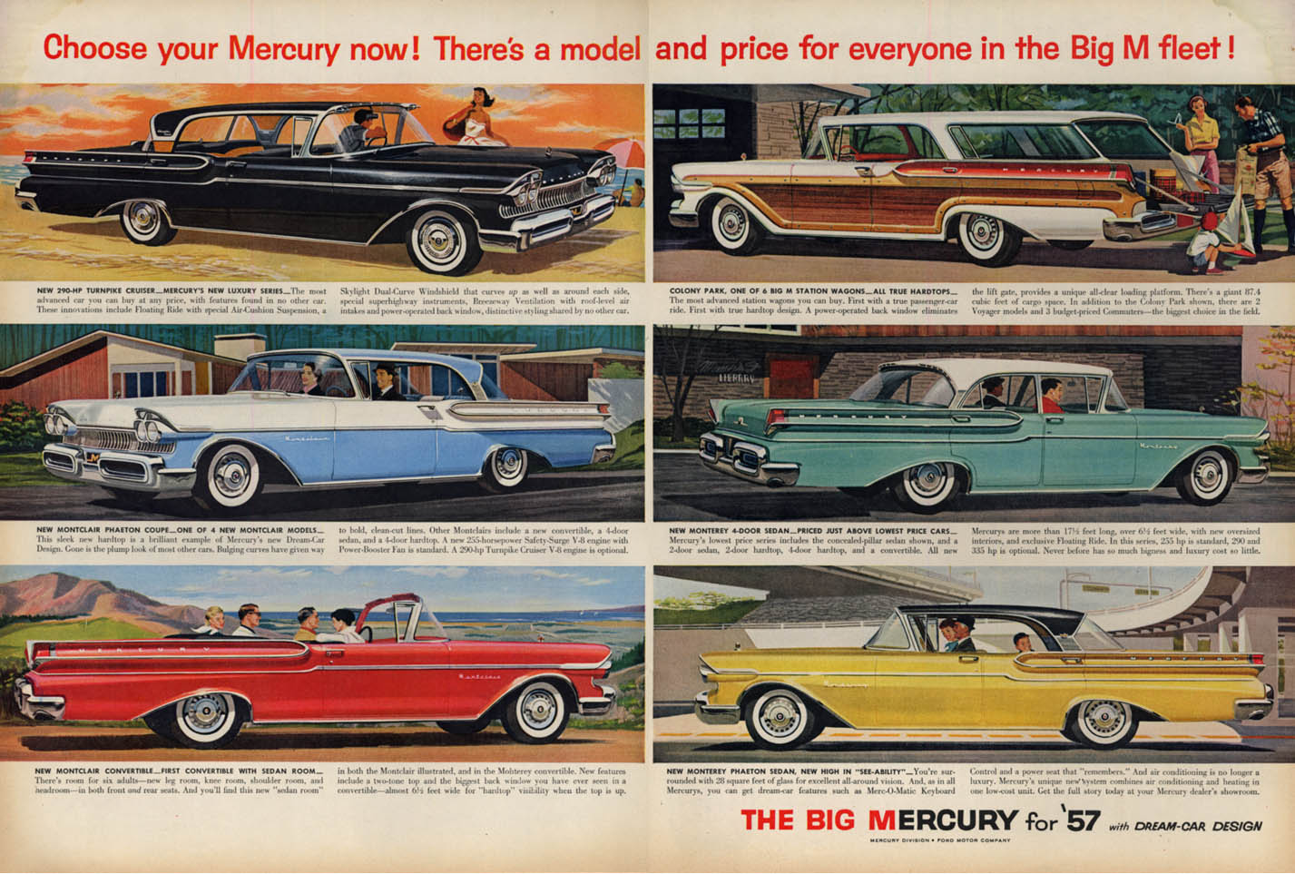 Image for Choose your Mercury now! Turnpike Cruiser Montclair Monterey ad 1957 L