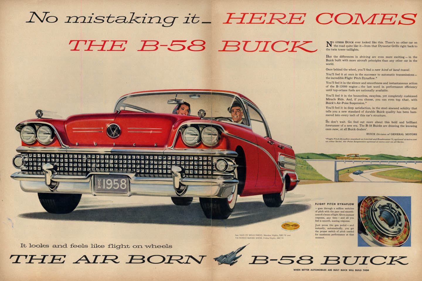 Image for No mistaking it - Here comes the B-58 Buick 4-door hardtop ad 1958 L