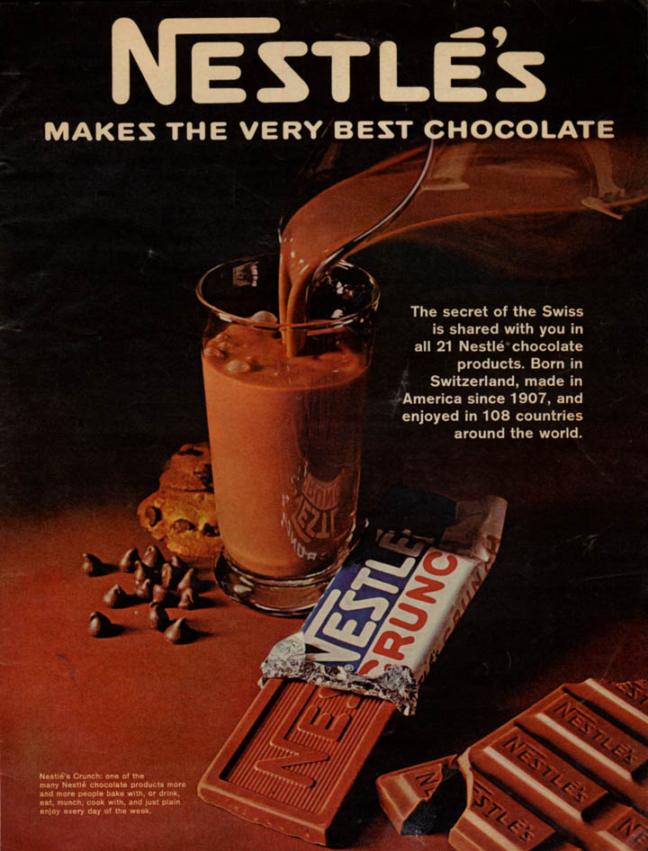 Image for Nestle's makes the very best chocolate Nestle's Crunch candy bar ad 1968 L