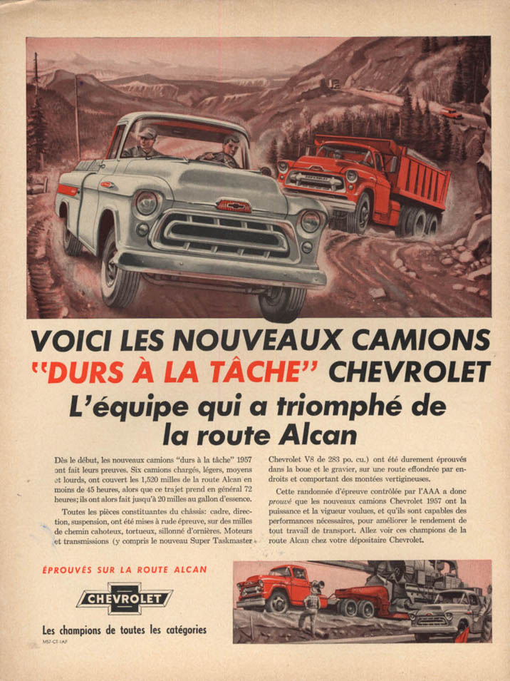Image for Voici les nouveau camions Chevrolet Pickup & Dump Truck ad 1957 in French