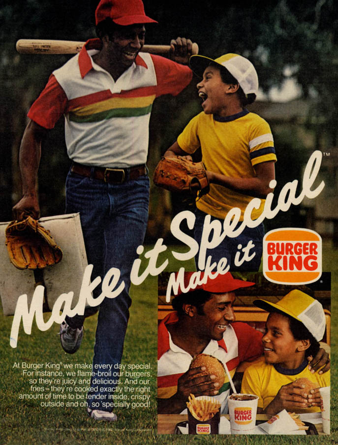 Image for Make it Special Make it Burger King ad 1980 father & son baseball EB
